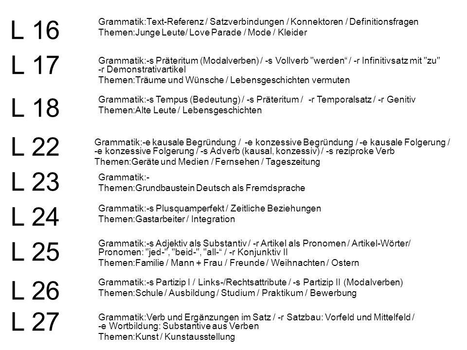 L 16 Grammatik:Text-Referenz / Satzverbindungen / Konnektoren / Definitionsfragen. Themen:Junge Leute/ Love Parade / Mode / Kleider.