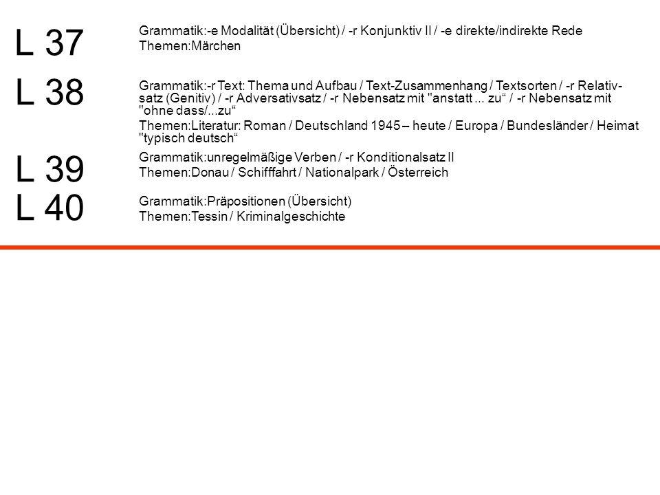L 37 Grammatik:-e Modalität (Übersicht) / -r Konjunktiv II / -e direkte/indirekte Rede. Themen:Märchen.