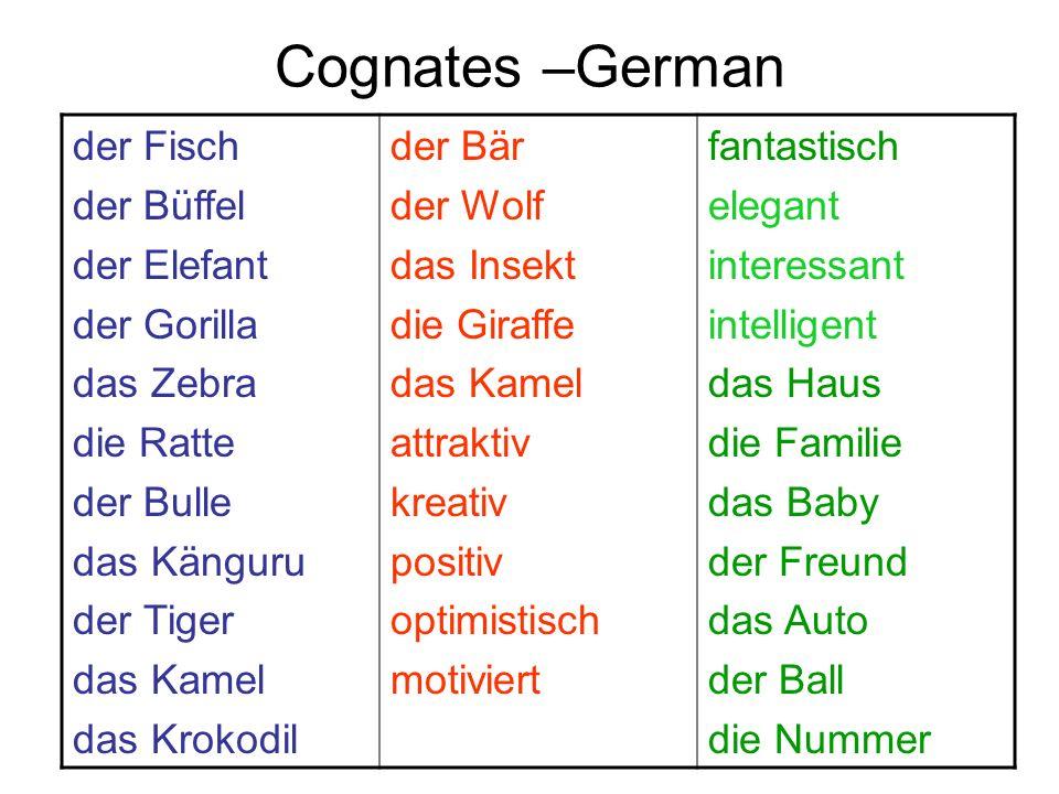 Cognates –German der Fisch der Büffel der Elefant der Gorilla