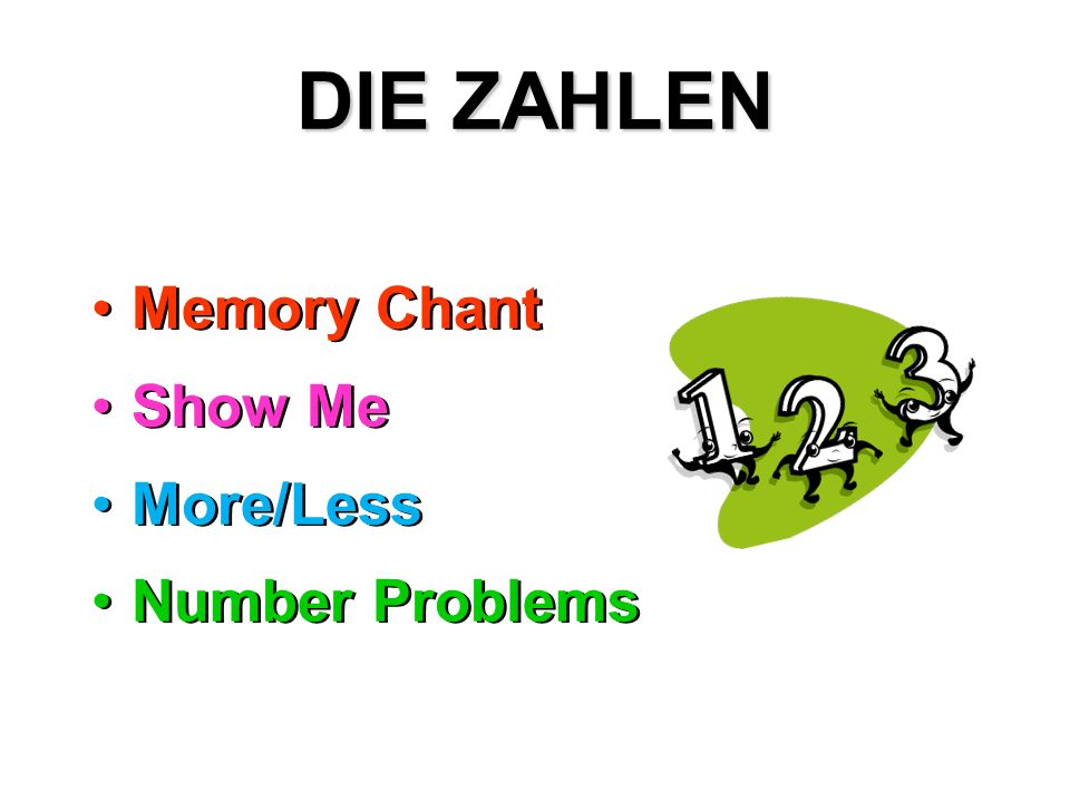 DIE ZAHLEN Memory Chant Show Me More/Less Number Problems
