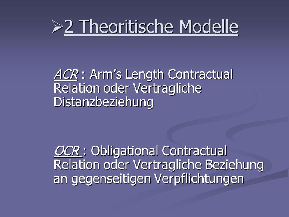 2 Theoritische Modelle ACR : Arm's Length Contractual Relation oder Vertragliche Distanzbeziehung.