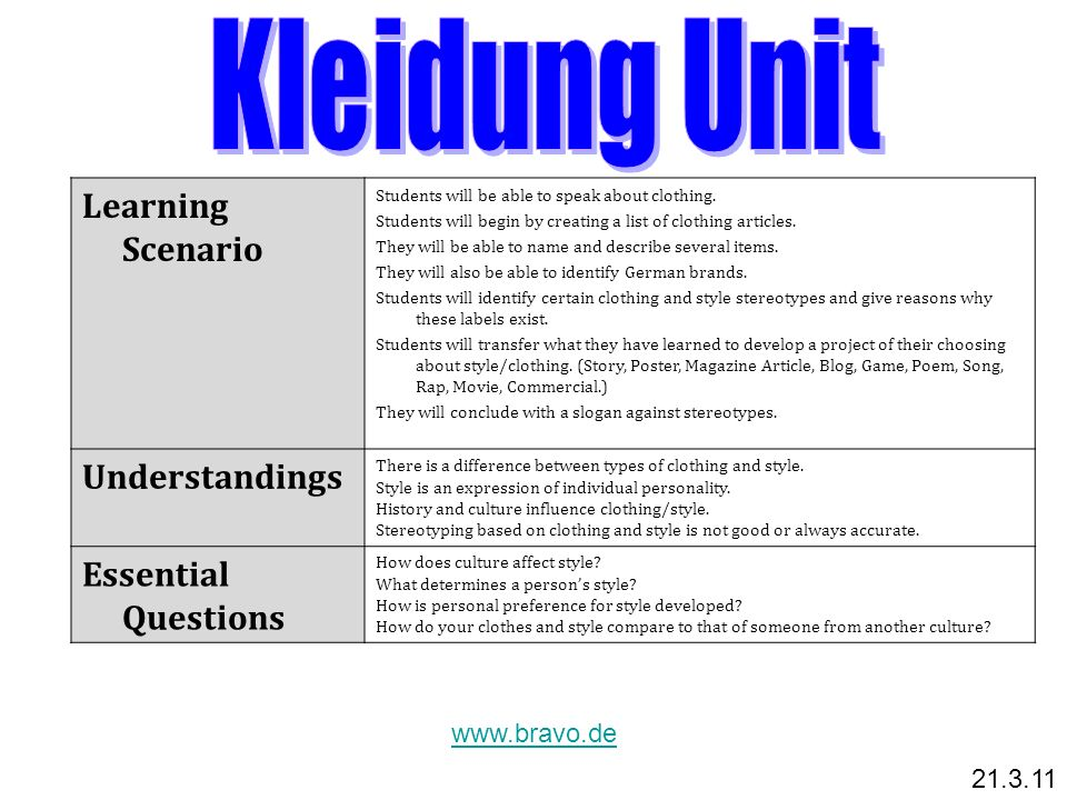 Kleidung Unit Learning Scenario Understandings Essential Questions