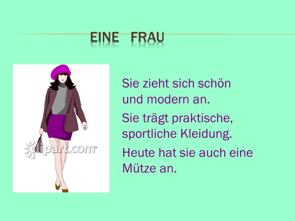 Eine Frau Sie zieht sich schön und modern an. Sie trägt praktische, sportliche Kleidung.