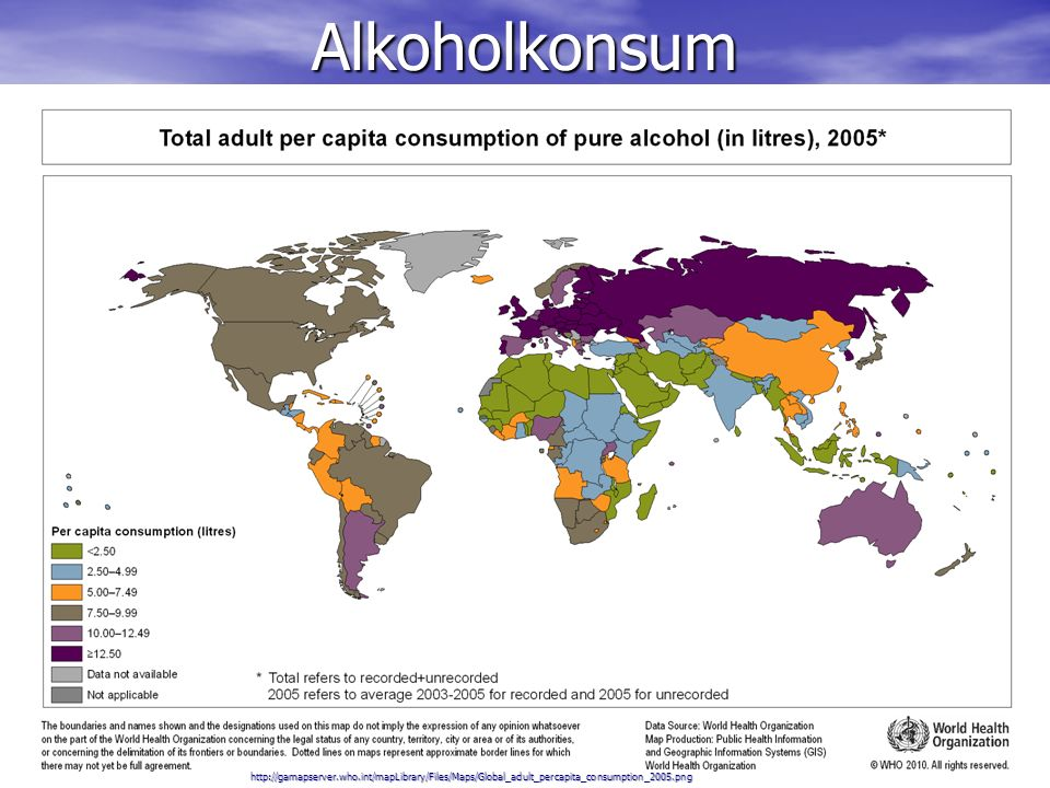 Alkoholkonsum http://gamapserver.who.int/mapLibrary/Files/Maps/Global_adult_percapita_consumption_2005.png.