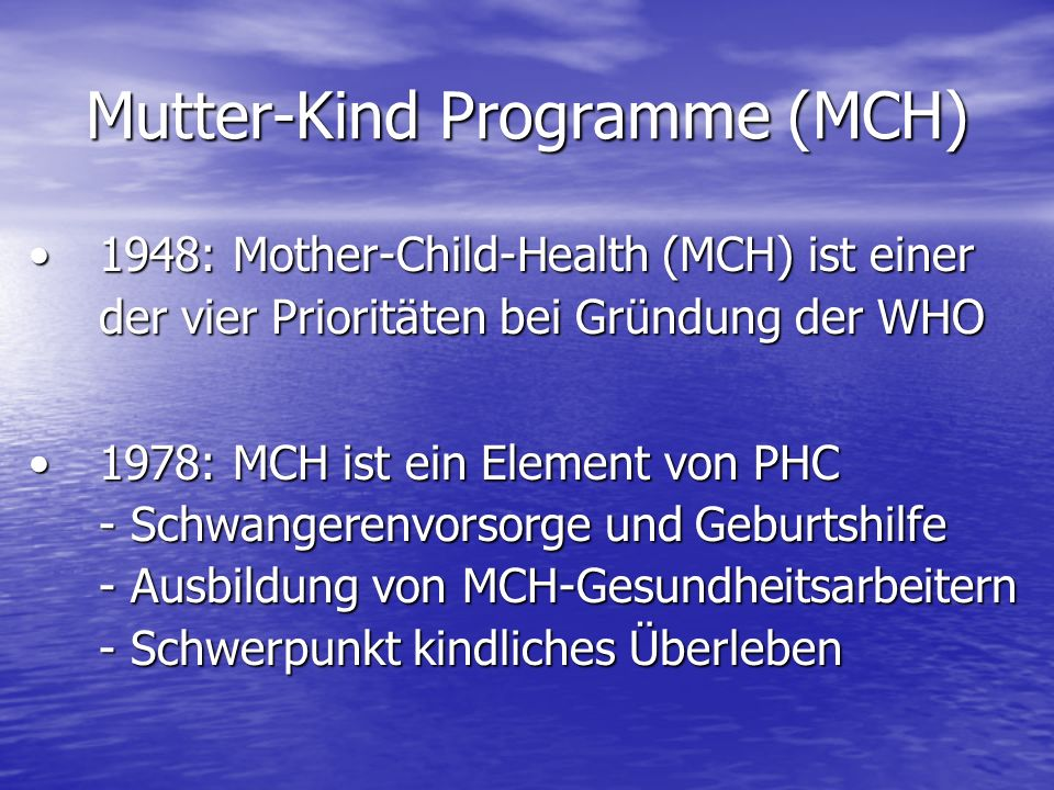 Mutter-Kind Programme (MCH)