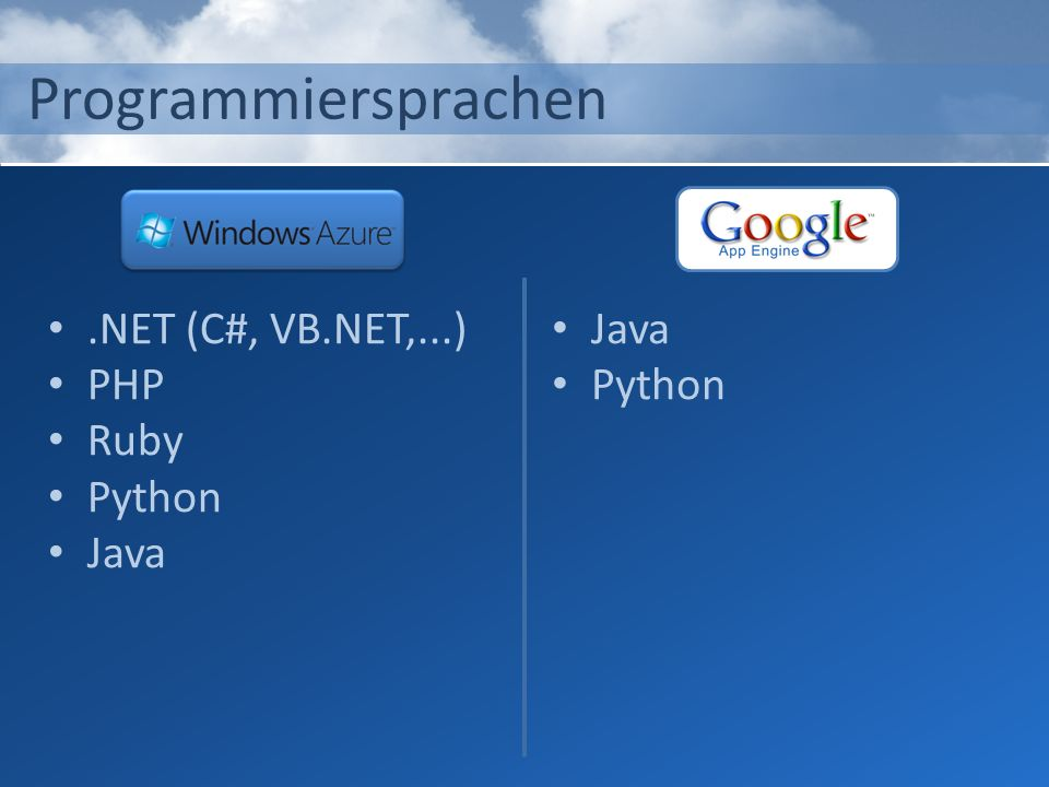 Programmiersprachen .NET (C#, VB.NET,...) PHP Ruby Python Java Java