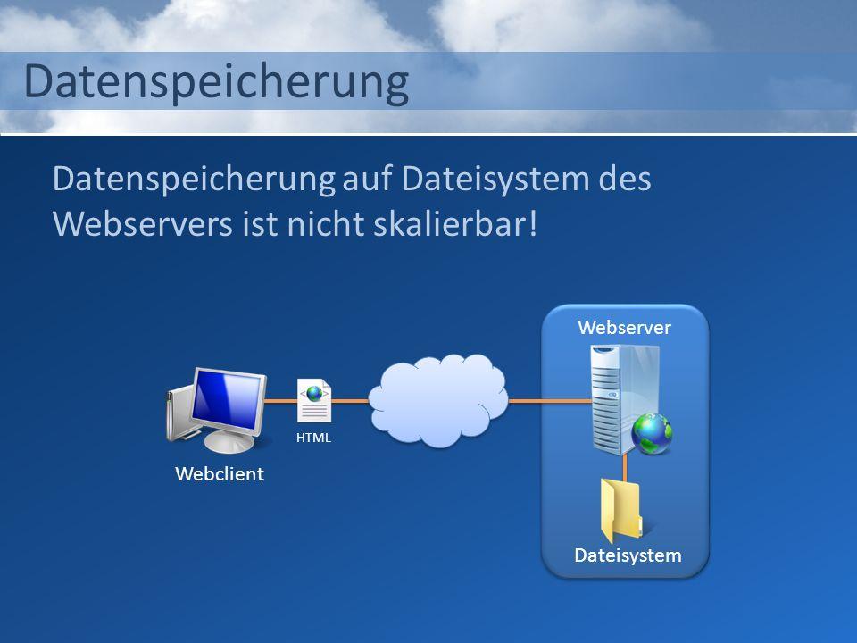 Datenspeicherung Datenspeicherung auf Dateisystem des Webservers ist nicht skalierbar! Webserver. Webclient.