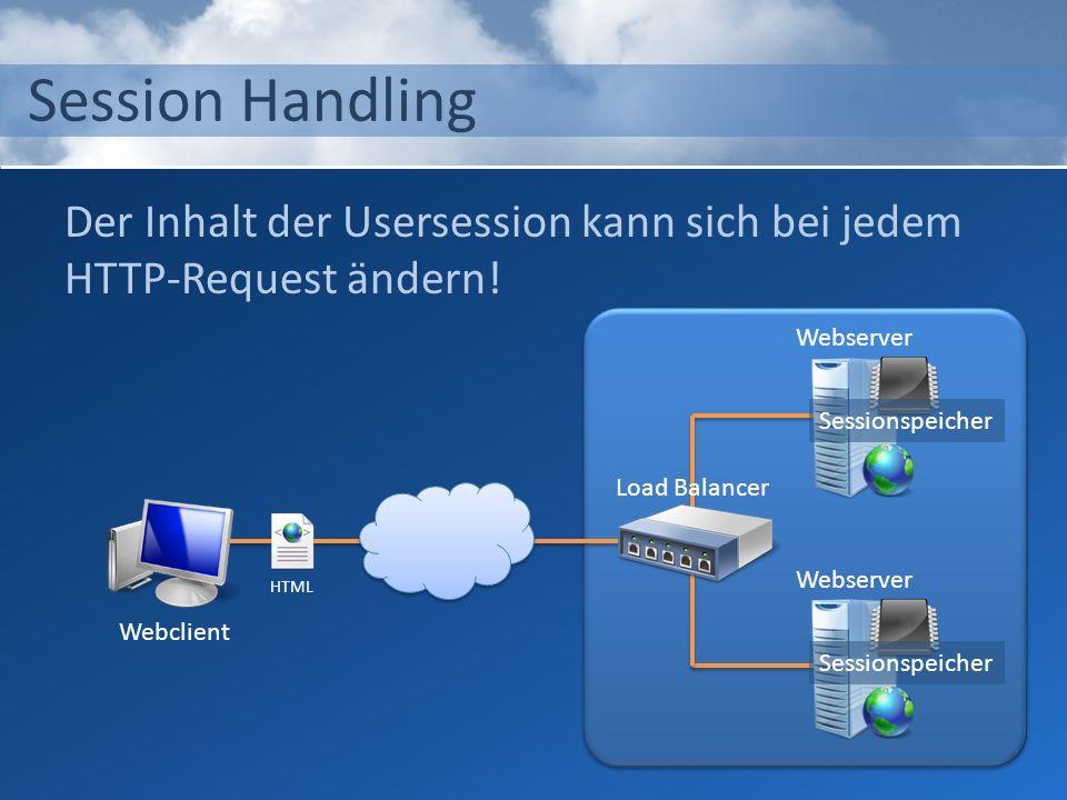 Session Handling Der Inhalt der Usersession kann sich bei jedem HTTP-Request ändern! Webserver. Sessionspeicher.