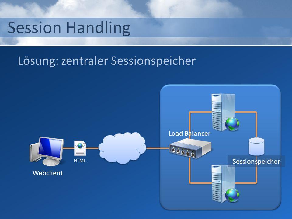 Session Handling Lösung: zentraler Sessionspeicher Load Balancer
