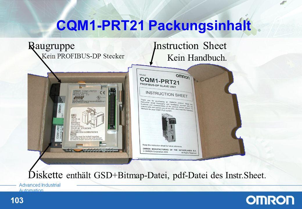 CQM1-PRT21 Packungsinhalt