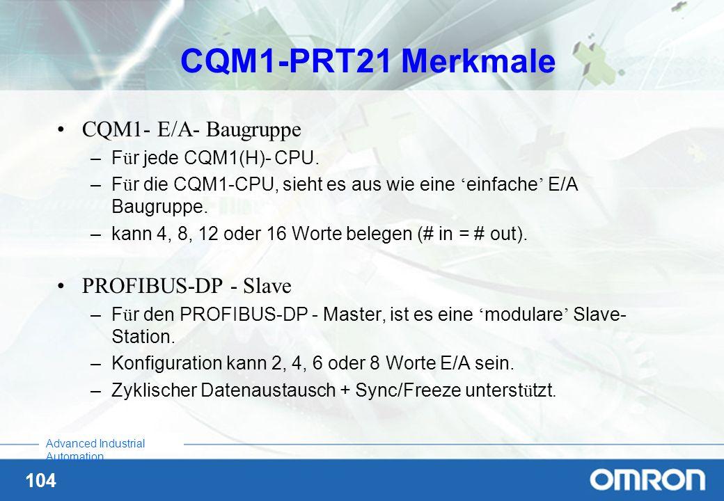 CQM1-PRT21 Merkmale CQM1- E/A- Baugruppe PROFIBUS-DP - Slave