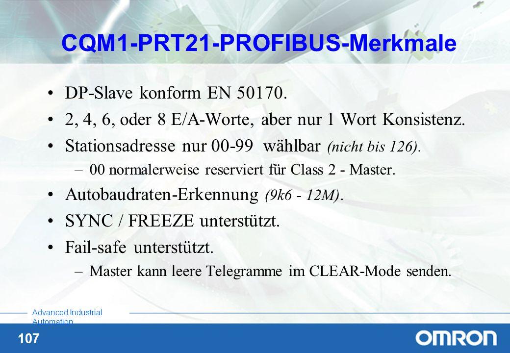CQM1-PRT21-PROFIBUS-Merkmale