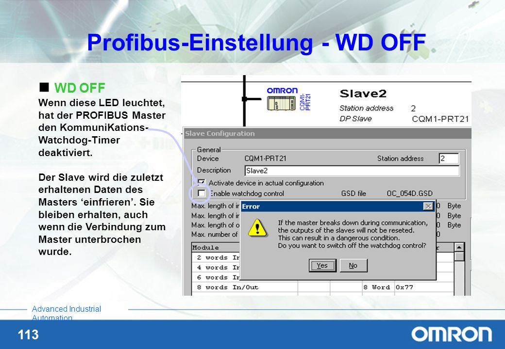 Profibus-Einstellung - WD OFF