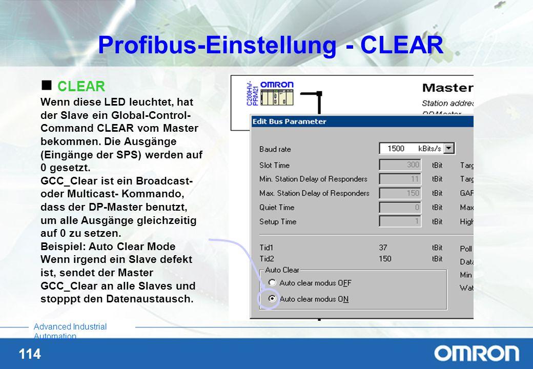 Profibus-Einstellung - CLEAR