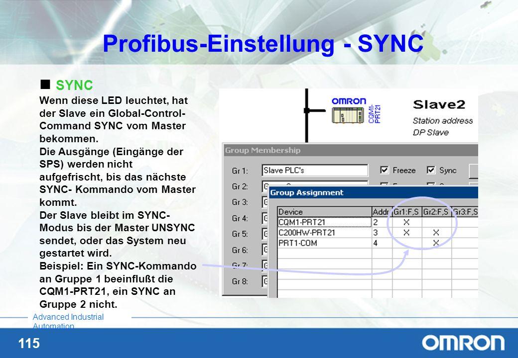Profibus-Einstellung - SYNC