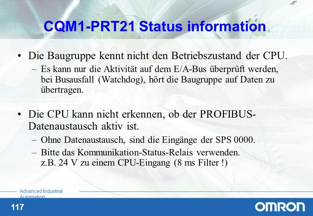 CQM1-PRT21 Status information
