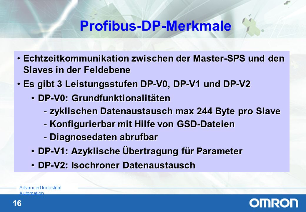 Profibus-DP-Merkmale