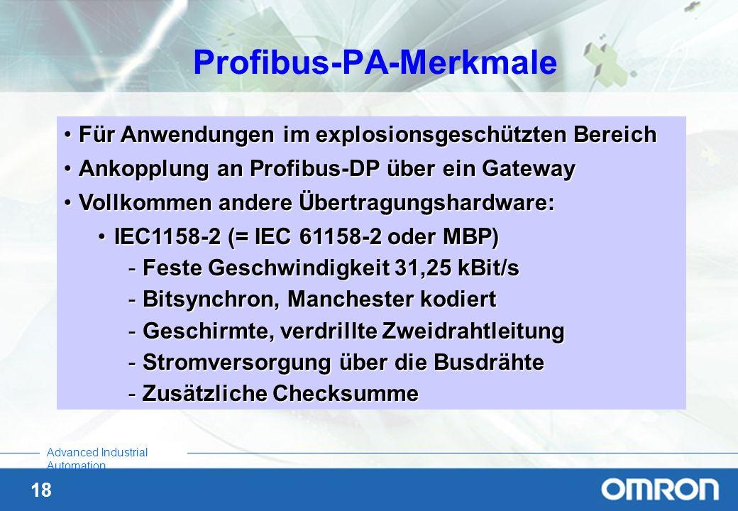 Profibus-PA-Merkmale