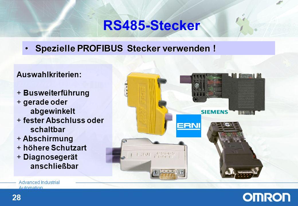 RS485-Stecker Spezielle PROFIBUS Stecker verwenden ! Auswahlkriterien: