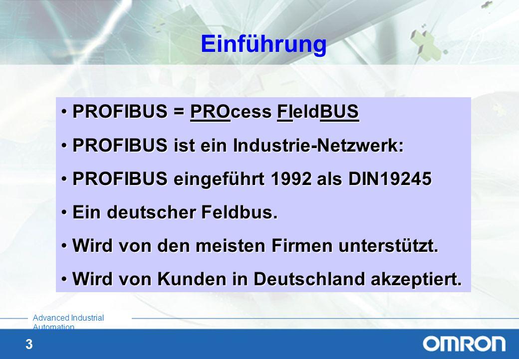 Einführung PROFIBUS = PROcess FIeldBUS