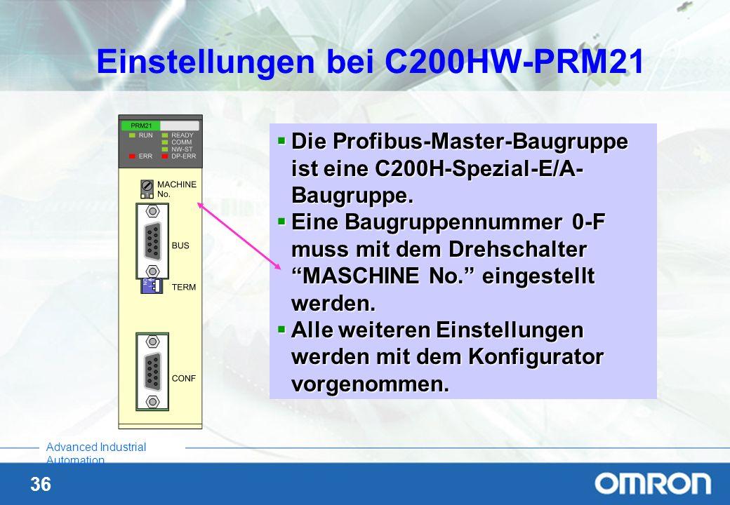 Einstellungen bei C200HW-PRM21