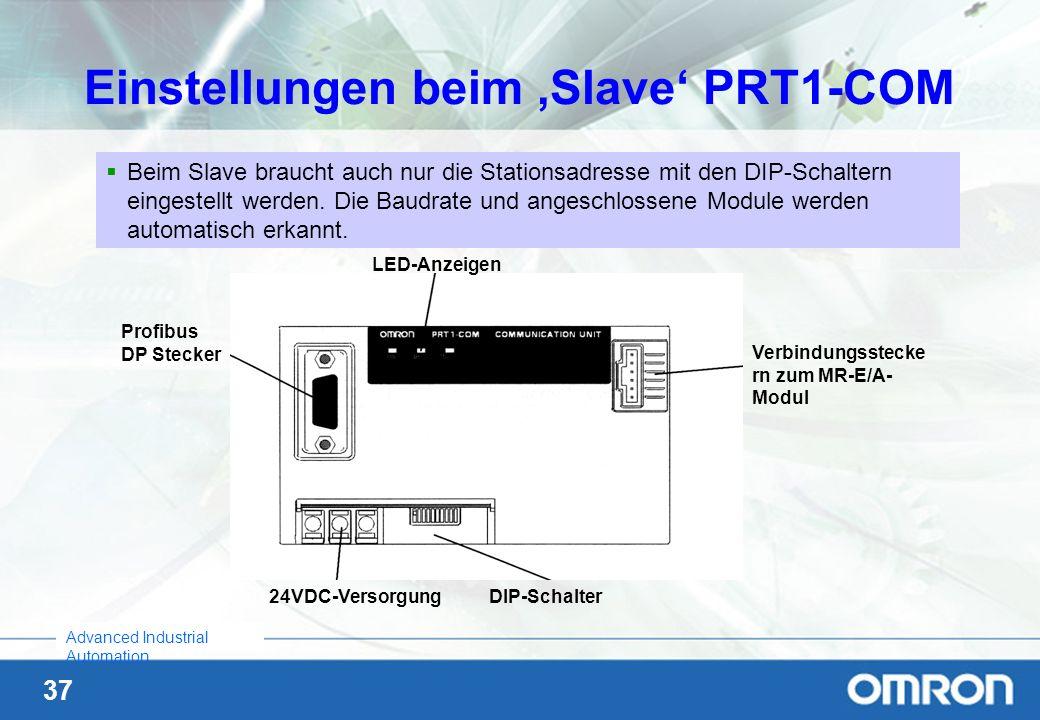 Einstellungen beim 'Slave' PRT1-COM