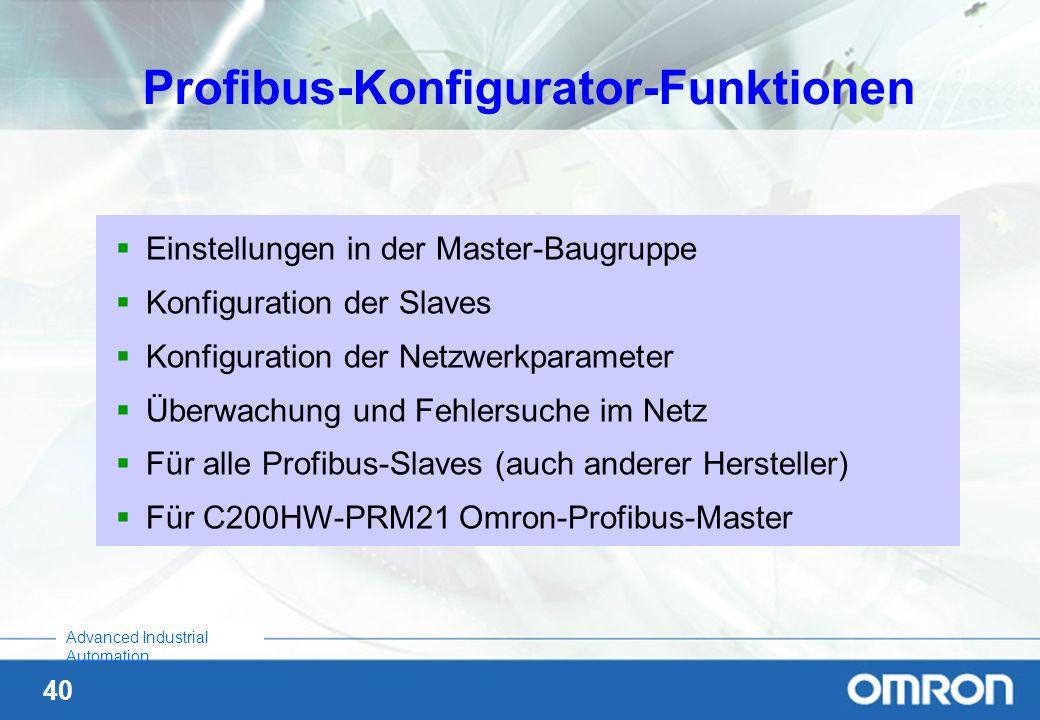 Profibus-Konfigurator-Funktionen