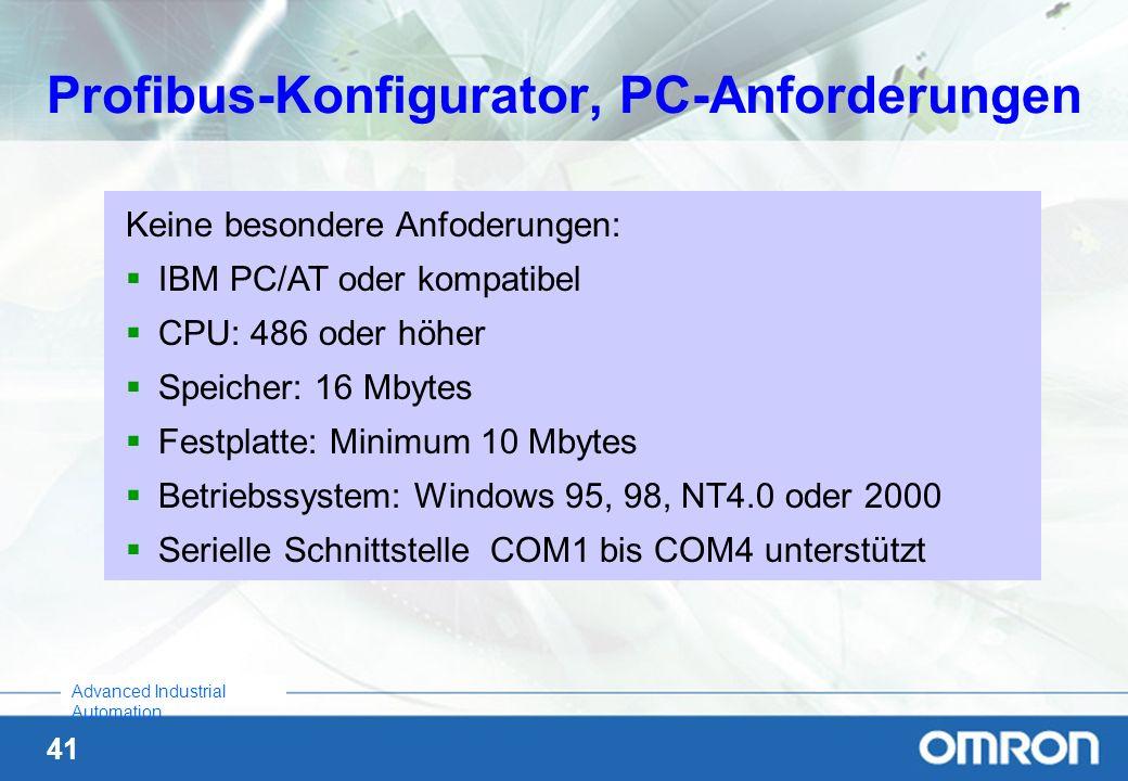 Profibus-Konfigurator, PC-Anforderungen