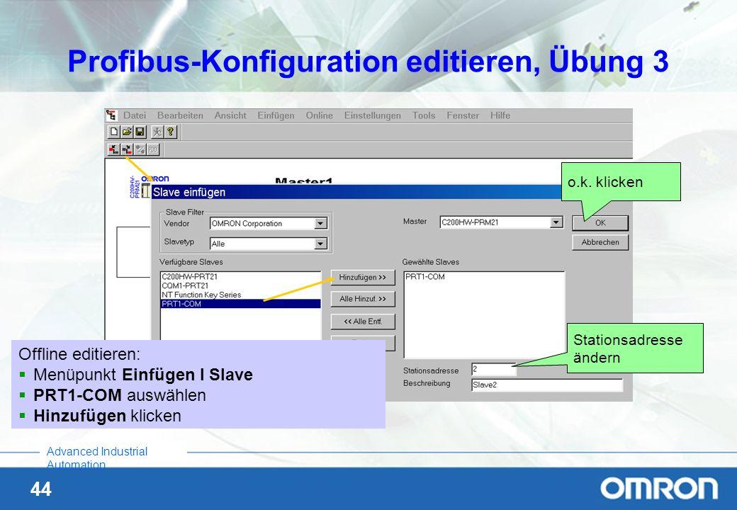 Profibus-Konfiguration editieren, Übung 3