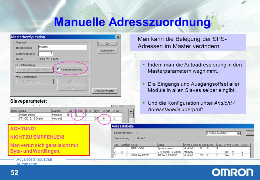 Manuelle Adresszuordnung