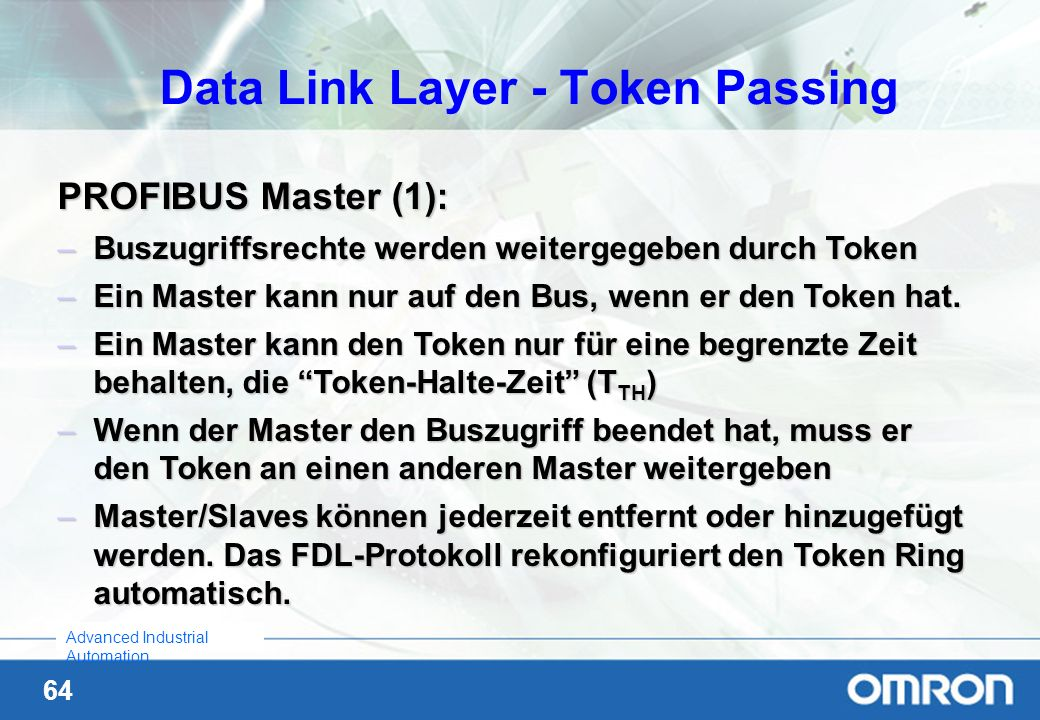 Data Link Layer - Token Passing