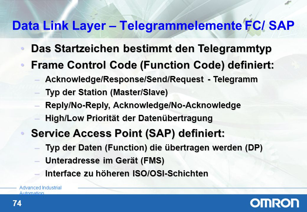 Data Link Layer – Telegrammelemente FC/ SAP