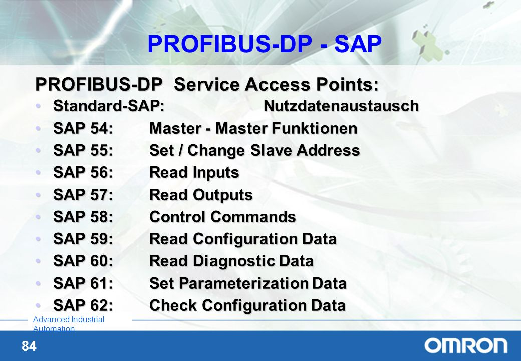 PROFIBUS-DP - SAP PROFIBUS-DP Service Access Points: