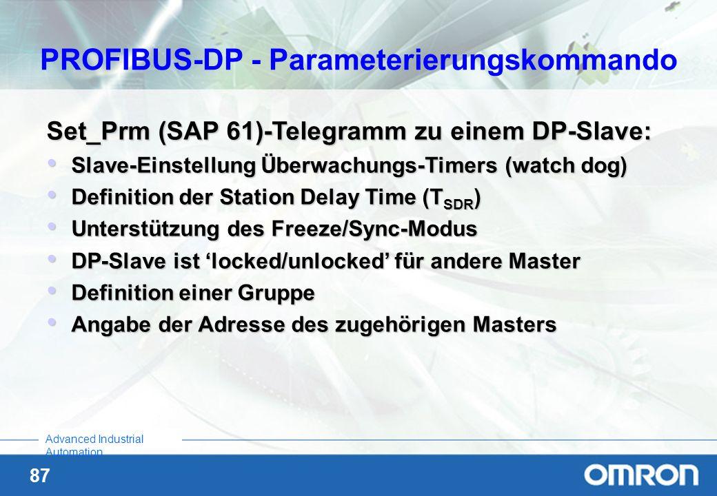 PROFIBUS-DP - Parameterierungskommando