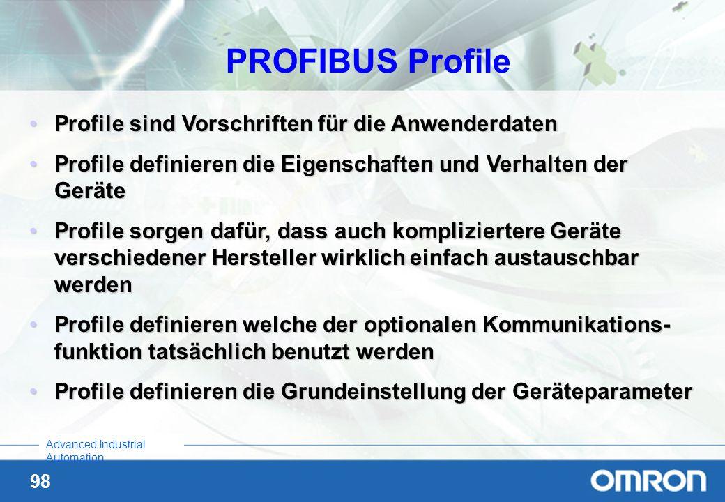 PROFIBUS Profile Profile sind Vorschriften für die Anwenderdaten