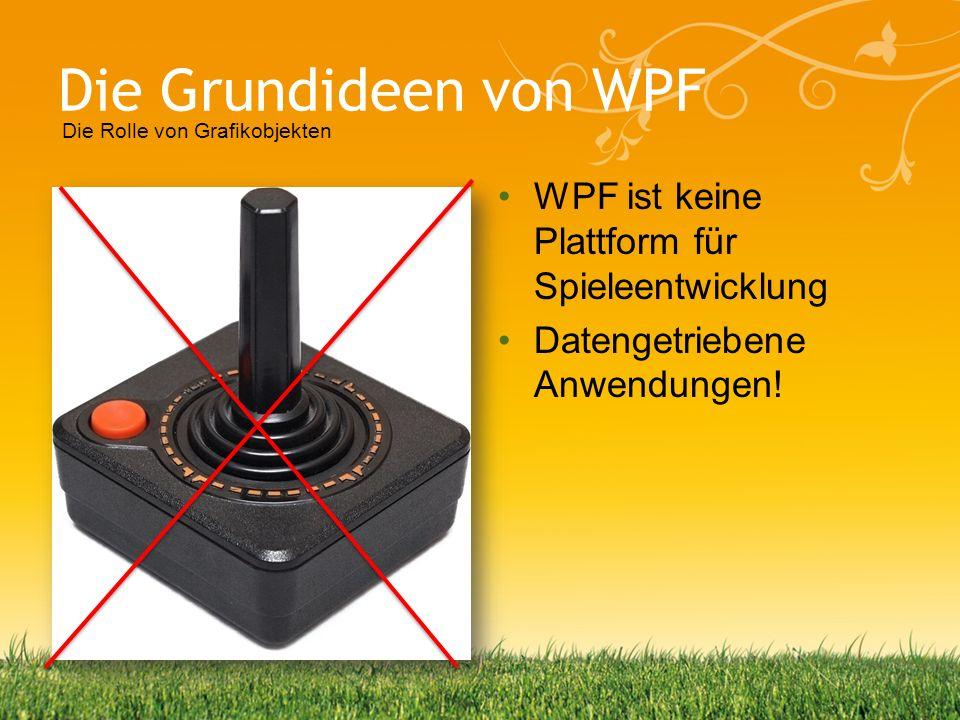 Die Grundideen von WPF WPF ist keine Plattform für Spieleentwicklung