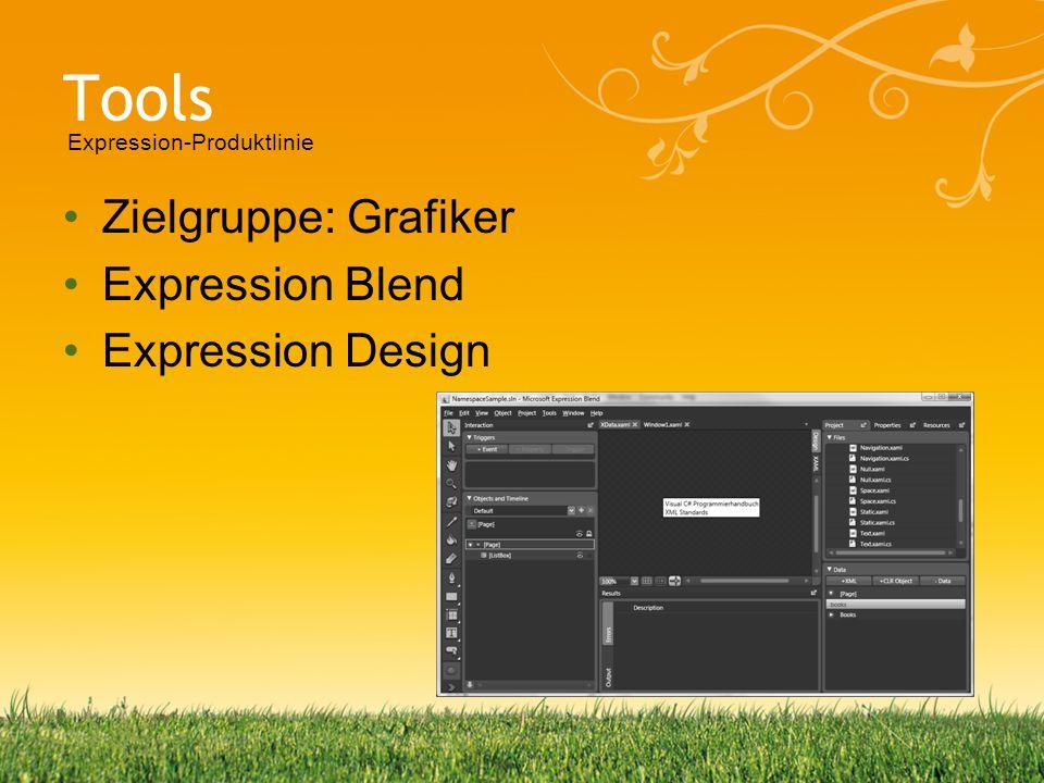 Tools Zielgruppe: Grafiker Expression Blend Expression Design