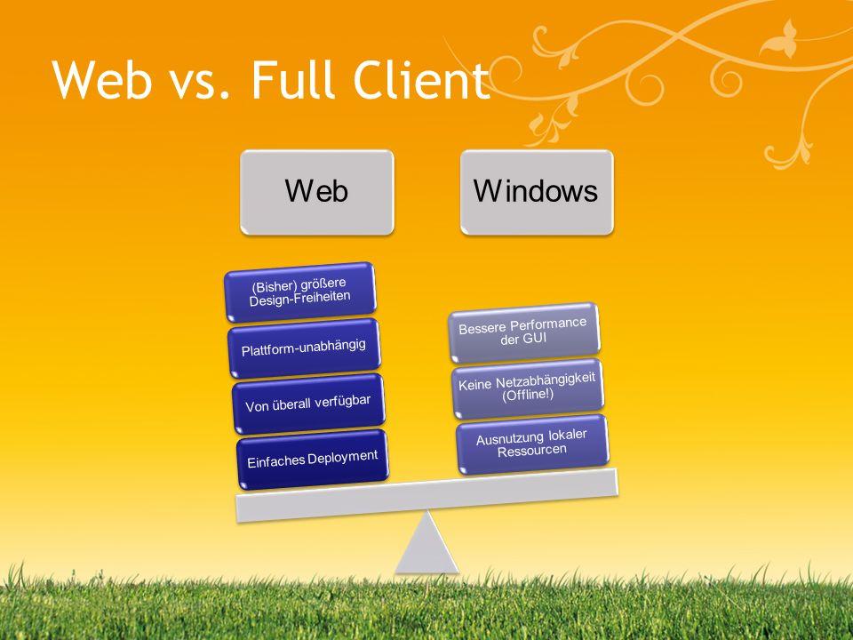 Web vs. Full Client Web Einfaches Deployment Von überall verfügbar