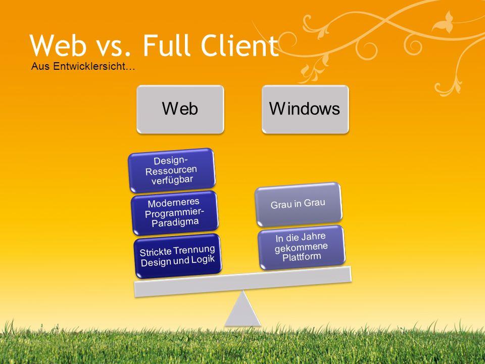 Web vs. Full Client Aus Entwicklersicht… Web