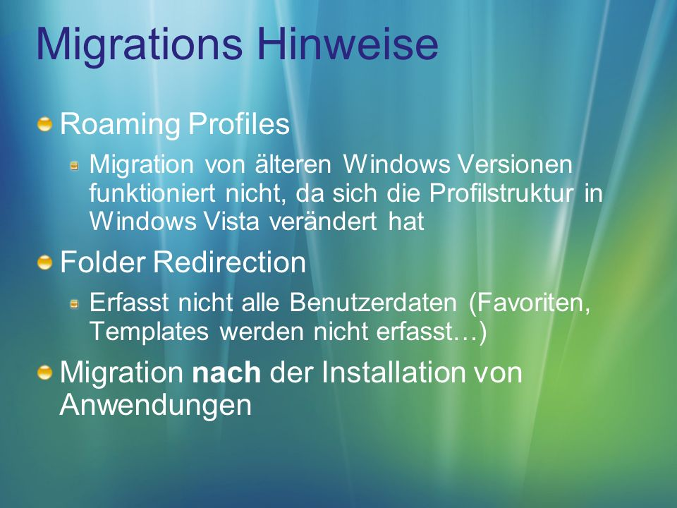 Migrations Hinweise Roaming Profiles Folder Redirection
