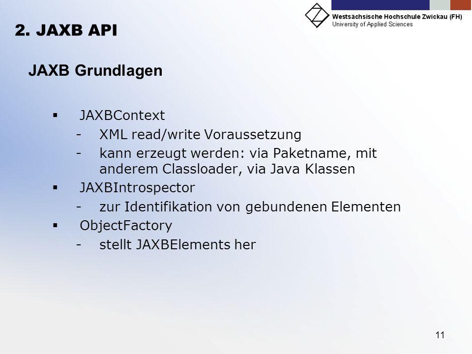 2. JAXB API JAXB Grundlagen JAXBContext XML read/write Voraussetzung