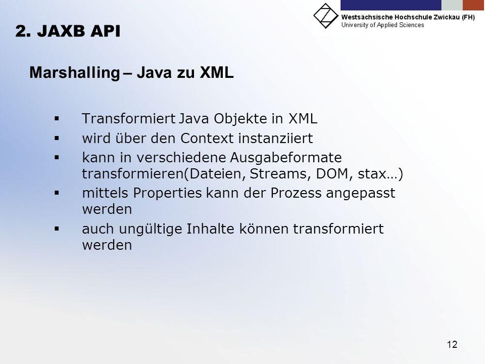 Marshalling – Java zu XML