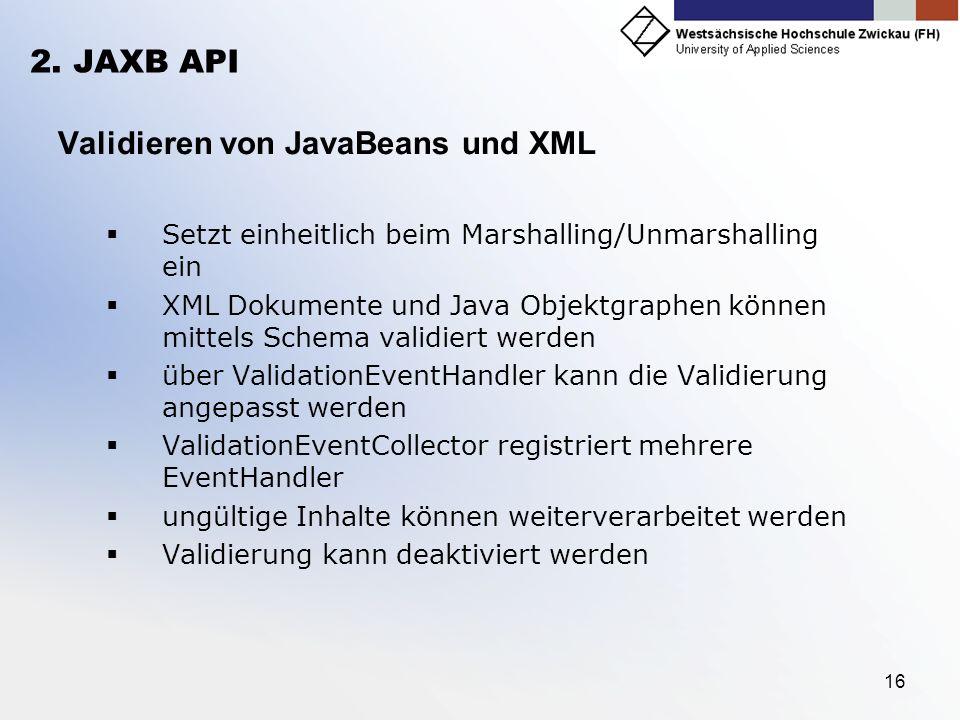 Validieren von JavaBeans und XML