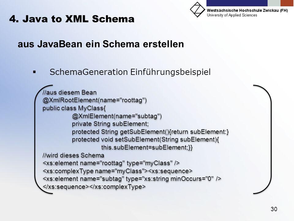 aus JavaBean ein Schema erstellen