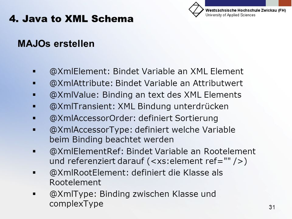 4. Java to XML Schema MAJOs erstellen