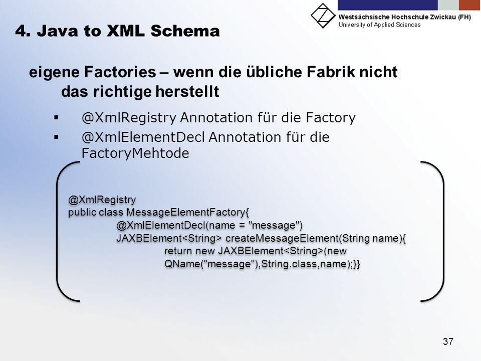 4. Java to XML Schema eigene Factories – wenn die übliche Fabrik nicht das richtige herstellt. @XmlRegistry Annotation für die Factory.