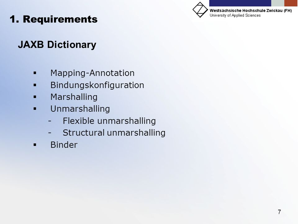 1. Requirements JAXB Dictionary Mapping-Annotation