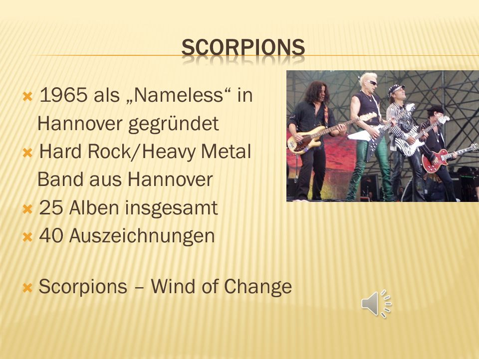 "Scorpions 1965 als ""Nameless in Hannover gegründet"