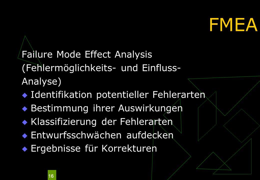 FMEA Failure Mode Effect Analysis (Fehlermöglichkeits- und Einfluss-