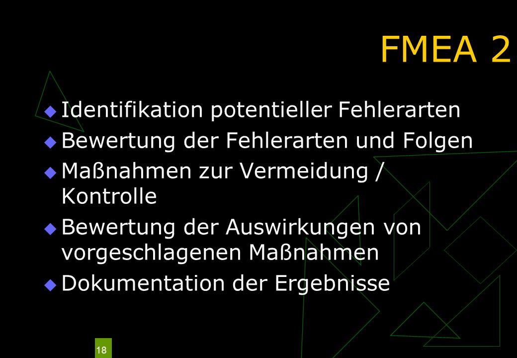 FMEA 2 Identifikation potentieller Fehlerarten